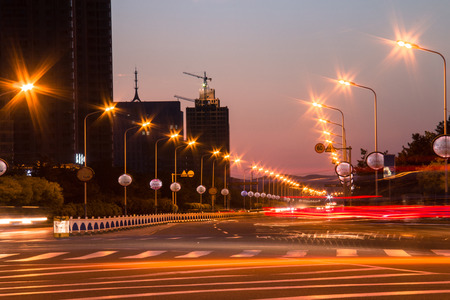 city road: Night city road