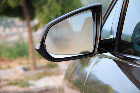 rearview: Close Rearview Mirror Stock Photo