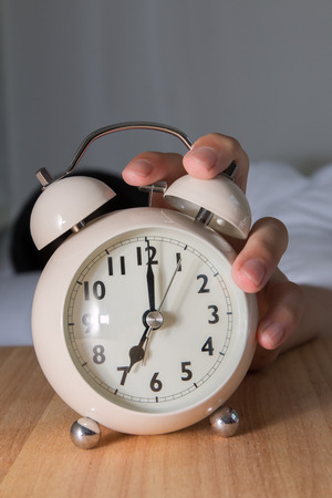 awake: Close Up man morning off the alarm Stock Photo