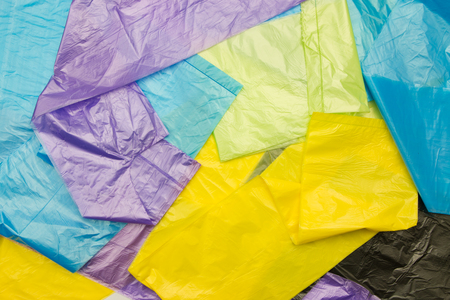 plastic pollution: Disposable plastic bags Stock Photo