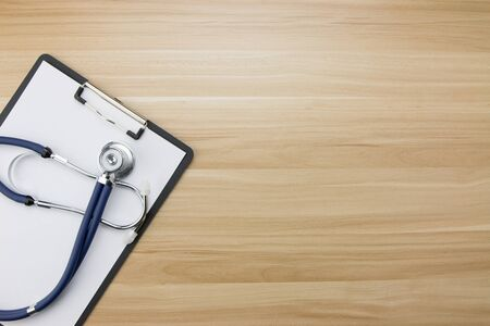 Stethoscope in doctors desk