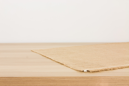 hessian: Empty table covered with hessian tablecloth