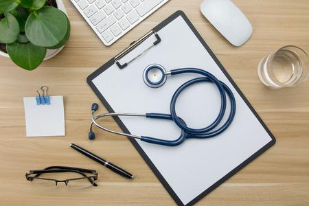 desk: Stethoscope in doctors desk