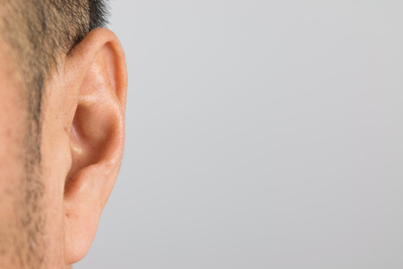Close up of man ear Stock Photo
