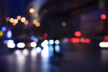 car lights: City night car lights, defocused background Stock Photo
