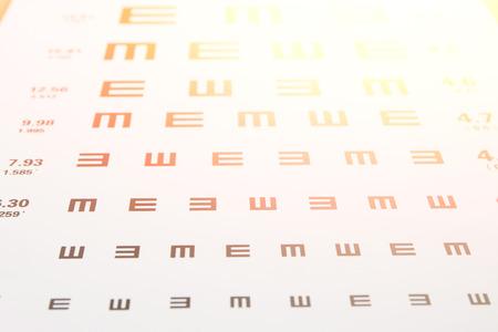 eye chart: Closeup of eye chart