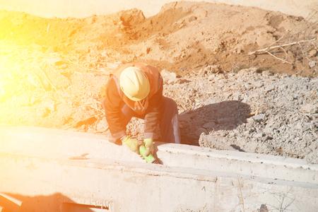 cutoff blade: Construction worker cutting