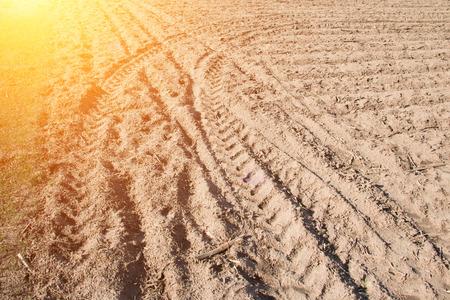 arable: Tire mark on arable land
