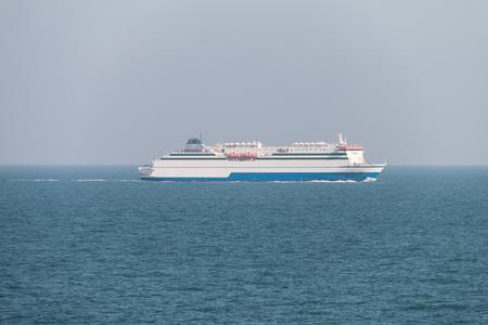 A ship sails in the sea