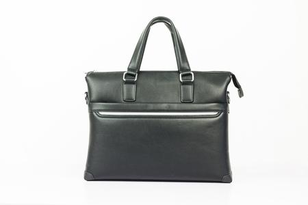 Black briefcase on white background