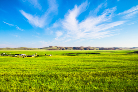 China Inner Mongolia Hulunbeier Prairie Landscape Stock Photo