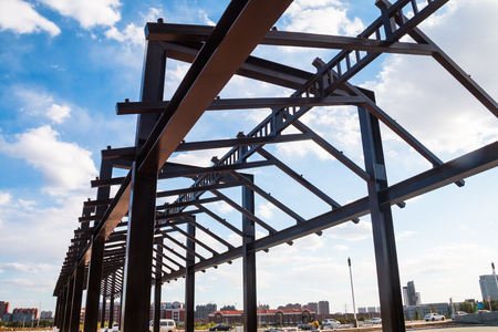 Building frame under blue sky