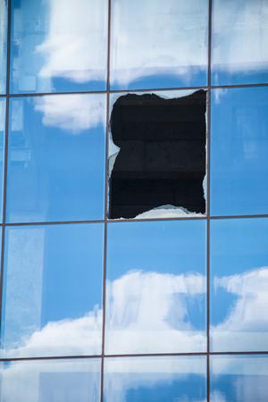 Broken office window