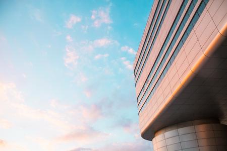 Modern building at sunset