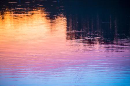 Lake water reflection under sunset