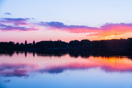 Lake water under sunset Stock Photo