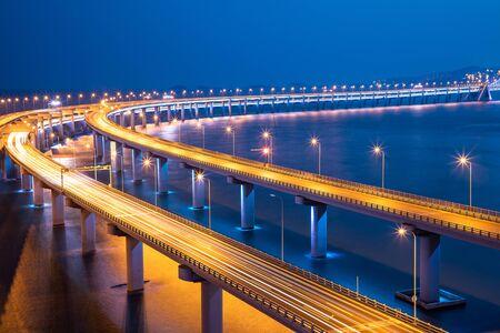 Night view of the sea bridge in Dalian, China Imagens