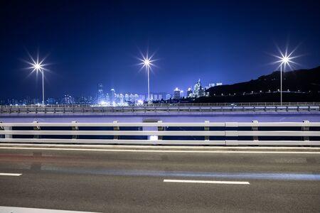 Night view of bridge highway in Dalian, China Imagens