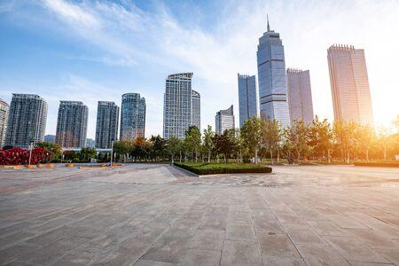 City sunset landscape of Yantai, China