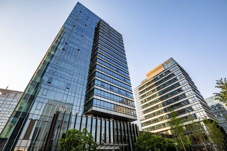 Low angle shot of modern glass building