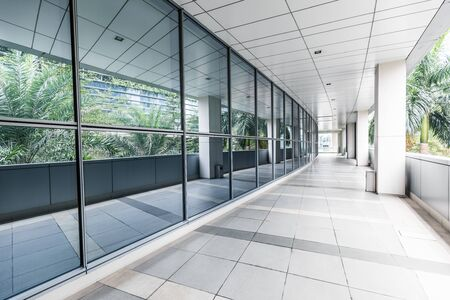Office corridor without people outdoors