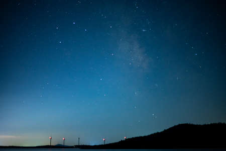 Mountains and blue night sky