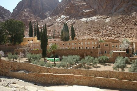 hostel: St. Catherine�s Monastery Hostel and Medical Garden Stock Photo