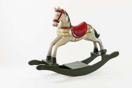 rocking horse: Miniature decorative wooden rocking horse Stock Photo