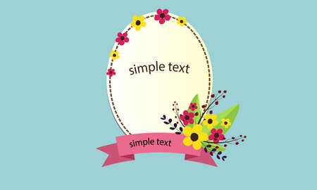 yellow star: flower frame text Illustration