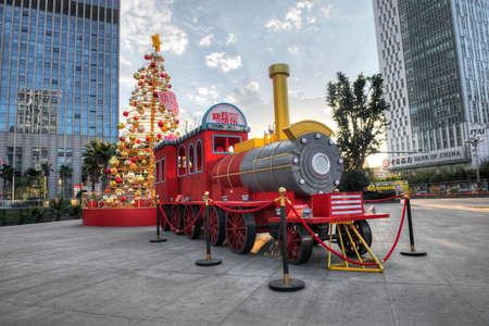 christmas train: Red Christmas Train, urban landscape