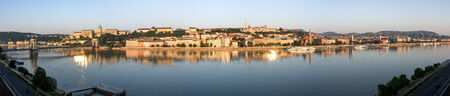 The capital of Hungary. Panoramic shot of the morning in Budapest. photo