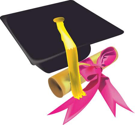 academic achievement: graduation cap with diploma  Illustration