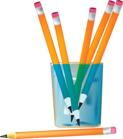glass with pencils Vector