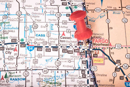 Map Closeup of Fargo, ND with Push Pin marking the city  Stock Photo