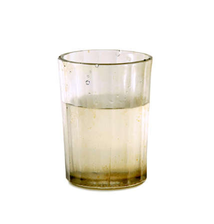 dirty glass with fresh water