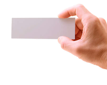 hand with a card isolated on white background Standard-Bild