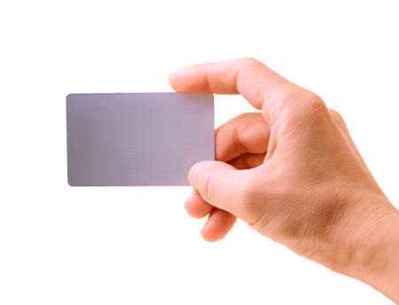 hand with a debit card isolated on white Stock Photo - 9239943