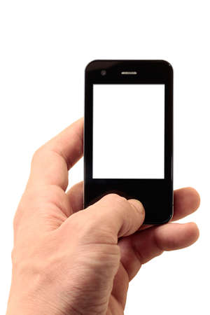 mobile phone in left hand with isolated display photo