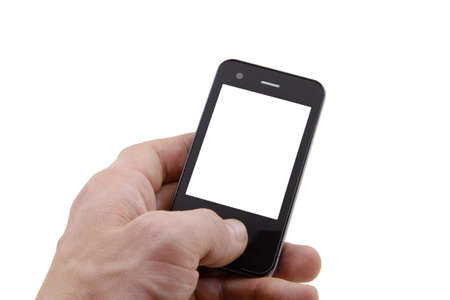 mobile phone in left hand with a blank screen