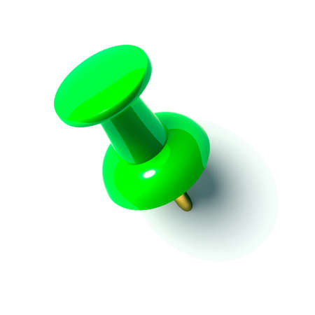paper fastener: green pushpin Stock Photo
