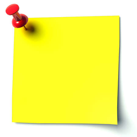 speld: gele sticker bevestigd punaise Stockfoto