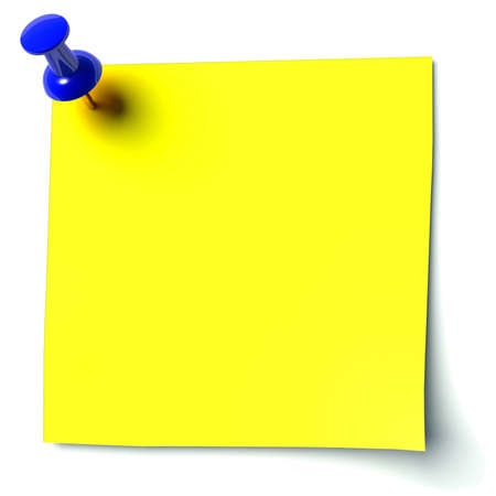 yellow sticker attached drawing pin Stock Photo - 11137192