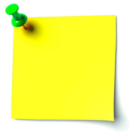 yellow sticker attached drawing pin Stock Photo - 11137191