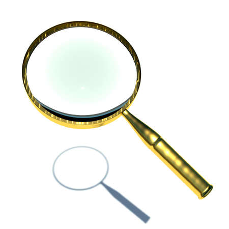 scrutiny: 3d magnifying glass set in gold. Stock Photo