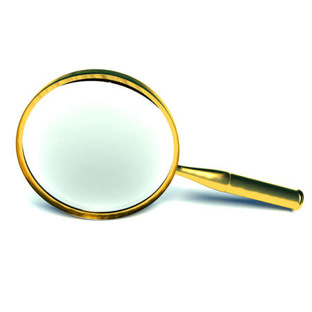 3d magnifying glass set in gold. Stock Photo