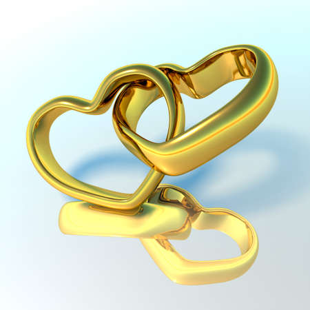 Wedding rings in the shape of hearts photo