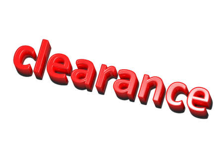clearance sale: the word clearance, red on white background Stock Photo