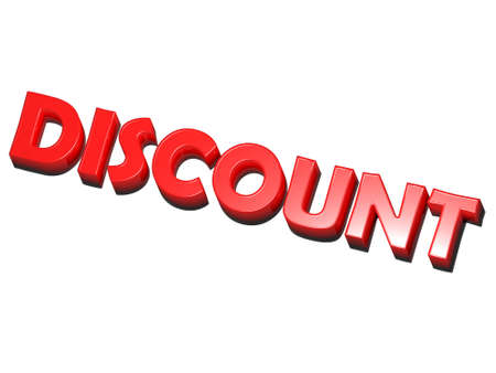 the word discount, red on white background
