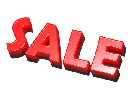 clearance sale: the word sale, red on white background