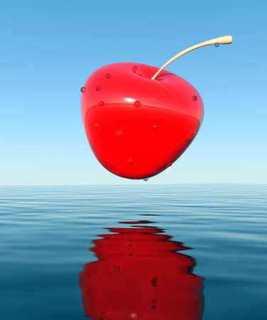 3D cherry, that falls into the water. photo